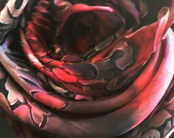 MADE TO ORDER, Hand Painted, Red and Black silk scarf or wrap for women,long scarves for her, shawls, wearable art