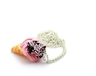 Strawberry Ice Cream with Chocolate Sauce / Miniature Food Jewelry