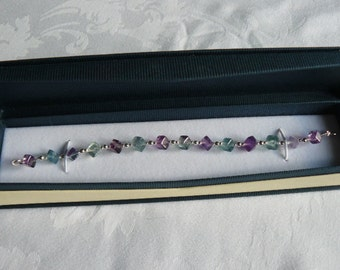 FLUORITE and STERLING SILVER Bracelet. Heather Coloured Fluorite Cubes combined with Sterling Silver. Made in Scotland.