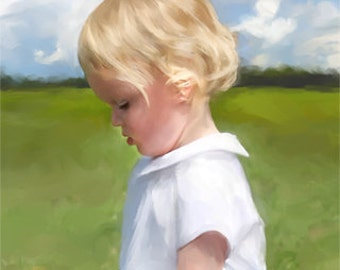 Custom Painting - 11x14 Personalized Children Portrait on Canvas from Your Photos