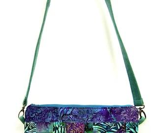 Batik Shoulder Strap Purse - teal and purple
