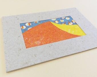 linocut - DUNE - 5x7 / printmaking, block print / sand dune, desert art / red, orange, yellow, blue