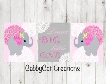Nursery Decor Pink Gray-Digital Prints-Elephant Nursery Wall Decor-Girls room art prints-JPEG