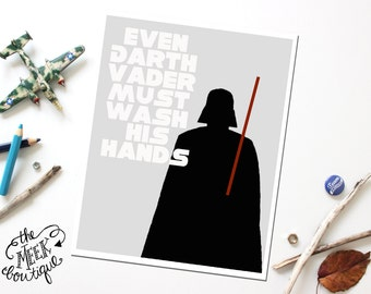 INSTANT Download, Star Wars Darth Vader Bathroom Wall Art Printable, No. 32