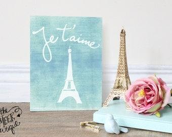 INSTANT DOWNLOAD, Je'taime, Paris, Eiffel Tower Printable, No. 339