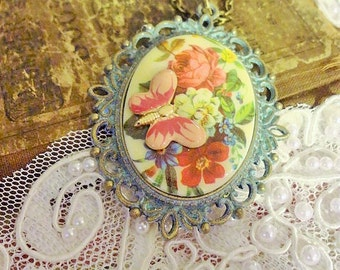 Floral Cameo Pendant, Victorian Roses Pendant, Downton Abbey, Shabby Chic, Mori Girl, Cowgirl Chic, Gypsy Chic, Boho Chic,