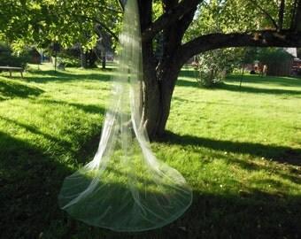 Custom Long Wedding Veil Crystals Dense Tapering at Top Cut Edge
