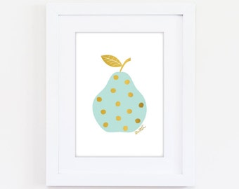 Printable Sweet Pear Art Print - Mint & Gold - Digital Download