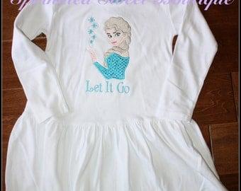 Frozen Custom Ice Princess Applique Dress