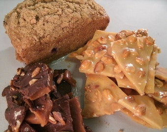 Milk Chocolate Sea Salt topped Peanut Brittle & Regular Peanut Brittle  One fresh baked Bread your choice FREE SHIPPING.