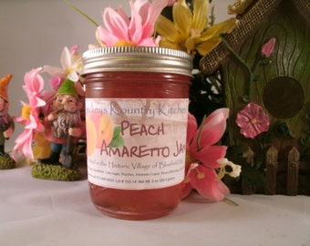 Peach Amaretto Jam, Homemade by Beckeys Kountry Kitchen Jam Jelly Preserves Fruit spread