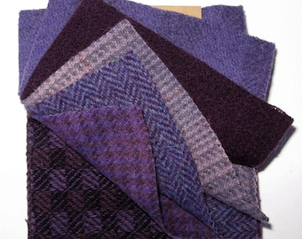 """Assorted Wool in Shades of Purple  5"""" x 5""""  Wool Charm Pack of 10"""