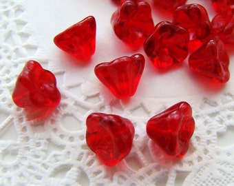 8x6mm Transparent Ruby Red Bell Flower Beads Pressed Czech Glass Beads - 25