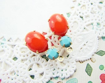 Vintage Oval Coral & Turquoise Blue Glass Stone Drops or Connectors Brass, Matte Black or Antique Silver Settings - 2