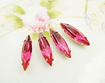 Vintage Rose Pink 15x4mm Navette Set Glass Stone Drops Rhinestone Earring Dangles Brass or Antique Silver Settings– 4