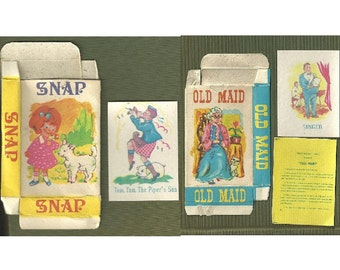 Vintage SNAP & OLD MAID Playing Card Decks - 1950s Childrens Card Game - Great Graphics on Hong Kong Mini Playing Cards - atc Backers
