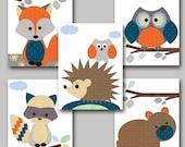 Kid Wall Art Baby Boy Nursery Art Baby Room Decor Hedgehog Nursery Bear Nursery Badger Nursery Owl Nursery Fox Nursery set of 5 11x14 Orange
