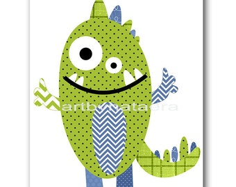 Kids Art Kids Wall Art Baby Nursery Decor Baby Boy Nursery Decor Nursery art Print Nursery wall art Monster Nursery green Boy Print
