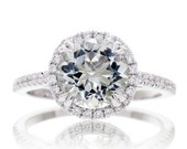 14 Karat 8mm Round Green Quartz Prasiolite Diamond Halo Solitaire Engagement Anniversary Ring