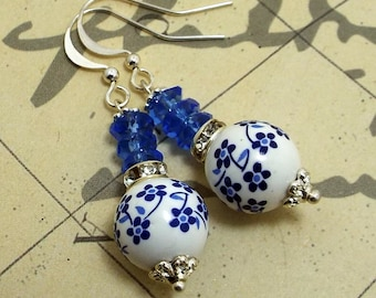 Earrings Blue and White Ceramic Floral Drops Silver Plated