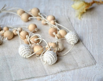 Nursing linen necklace Ivory Crochet natural wood beads Rustic Simple Elegant Ecofriendly  Mothers day Milk white