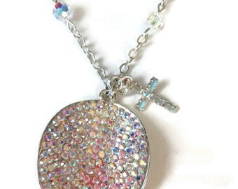 Clearance,One Of A Kind, Cross Necklace, Rhinestone Pendant, Circle Sparkle Necklace, Sparkling Jewelry
