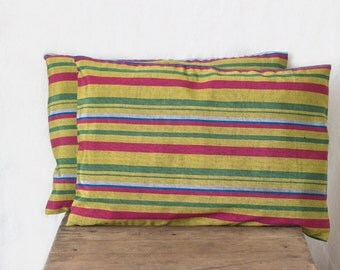 handwoven silk pillows, 12x18, set of two, throw pillows, decorative pillows, cushions, yellow pillows, gold pillows, toss pillow cover