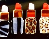 "20 CUSTOM LASER cut CABOCHONS 1"" non glitter Mirrored Double Layer Lipsticks"