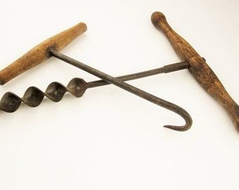 A Large Wood Handled Hand Drill and a Hay Bale Hook/Crook - Large T-shaped Wood Handles - Very Old  - Primitives