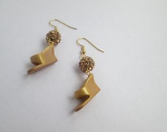 Barbie shoe earrings/ Hallmark ornament on Gold/ Item 8-002