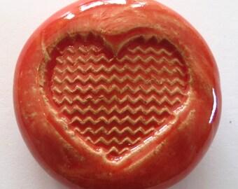CHEVRON HEART Pocket Stone - Ceramic - Sunset Red Art Glaze - Inspirational Art Piece