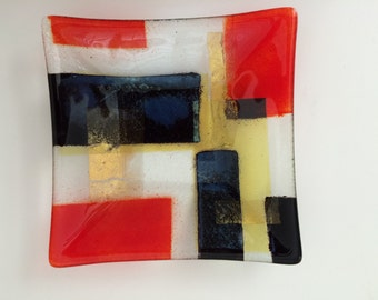 Geometric Square Fused Art Glass Dish Hand Made Vintage Primary Colors + Gold Metallic / GORGEOUS