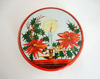 Vintage Christmas Tin Shabby Cookie 1960's Pointsettia with Candle Red Green White Retro Decor