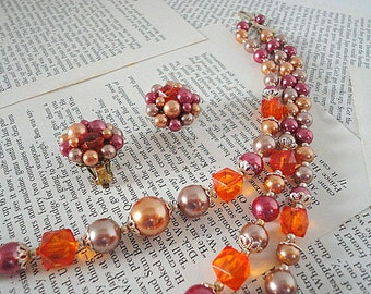 Vintage Necklace Earring Set - 1950s- Multi strand - Beaded Clusters- Clip on earrings- Pink Orange-  Gift under 25
