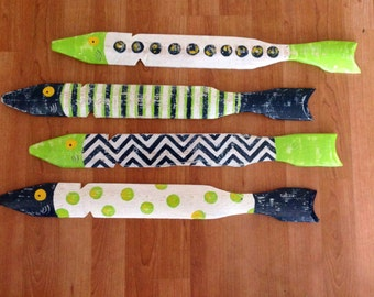 School of Four Hand Painted Fish Made From Salvaged Picket Fence