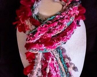Handmade scarf- Love Pink - Fringe - Fashion Scarf - Crochet - fun accessory - warm - soft - light - fuchsia - turquoise - grey - hand made