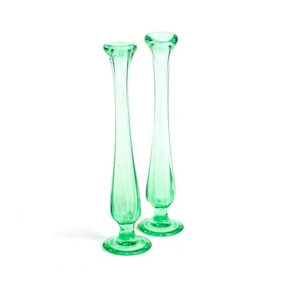 Green Bud Vase Pair 2 Unique Blown Glass Bottle Neck