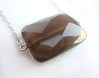 Smoky Quartz Necklace, Gemstone Necklace, Sterling Silver Necklace, Geometric Jewelry, Modern Jewelry, Quartz Jewelry, Faceted Brown Pendant