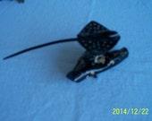 Hawaiian Black Coral carving, spotted eagle ray, rare, sealife,