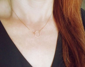 Dainty Gold Necklace, Circle Necklace, Gold circle necklace, Simple Gold Necklace, Small circle necklace, Dainty Gold Jewelry