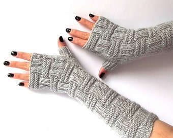 Knit Fingerless Gloves. Gray Knit Mittens. Hand Knit Gloves. Fingerless Mittens. Wrist Warmers. Long Gloves. Hand Warmers.