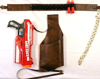Steampunk Faux Leather Drop Leg Holster for Nerf Mega Magnus with or without Matching Ammo Belt