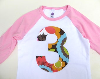 Modern Flower 3 birthday shirt Pink and White Raglan girls Size: 4- Number  3 in modern flower 3rd 4th 5th 6th three four five third fourth