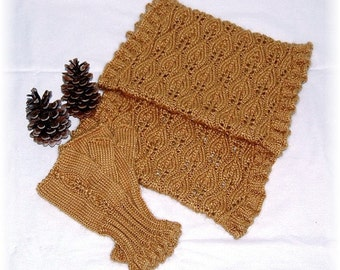 "Infinity Scarf and Fingerless Mittens-Set ""Eden Island"", hand knit in soft Baby Alpaca-Silk blend - READY TO SHIP"