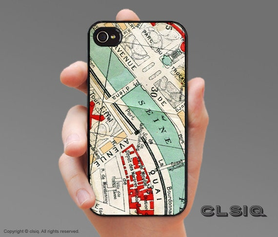 iPhone Case - Vintage Paris Map -- Case for iPhone 6, iPhone 6Plus, iPhone 5/5s/5c, iPhone 4/4s, Samsung Galaxy S5, Galaxy S4, Galaxy S3