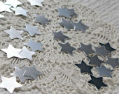 50 Silver  Metallic Recycled Paper Stars for Christmas, Wedding, Altered Art, Scrapbooking, Gifts