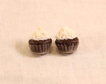 Chocolate Cupcake Post Earrings Polymer Clay Food Jewelry