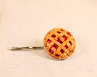 Cherry Pie Hair Pin Polymer Clay Food Jewelry