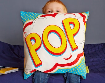 Pop Comic Pop Art Cushion - Comic book gift - Pop sound - retro cushion - comic book cushion - Boys bedroom gift - superhero cushion