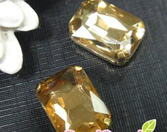RS-CO-05007- Gold plated, Rectangluar Montee Rhinestone 14mmx 10mm,light corolado topaz,  4 pcs